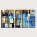 levne Abstraktní malby-Hang-malované olejomalba Ručně malované - Abstraktní Moderní Obsahovat vnitřní rám / Pět panelů