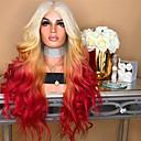 halpa Synteettiset peruukit verkolla-Aitohiusperuukit verkolla Kinky Straight Tyyli Keskiosa Suojuksettomat Peruukki Ombre Sateenkaari Synteettiset hiukset 26 inch Naisten Naisten Ombre Peruukki Pitkä Luonnollinen peruukki