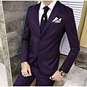 זול אקזוטי Dancewear-נייבי כהה / אפור בהיר / ענבים אחיד גזרה מחוייטת פוליאסטר חליפה - פתוח Single Breasted Two-button