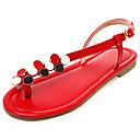hesapli Kadın Babetleri-Kadın's Düz Ayakkabılar Düz Taban Açık Uçlu Suni Deri İlkbahar yaz Siyah / Beyaz / Kırmzı