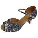 זול נעליים לטיניות-בגדי ריקוד נשים נעלי ריקוד PU נעליים לטיניות פאייטים עקבים עקב קובני מותאם אישית כסף