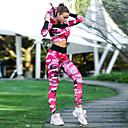 זול ביגוד כושר, ריצה ויוגה-בגדי ריקוד נשים גיזרה גבוהה אימונית חליפת יוגה להסוות יוגה ריצה כושר וספורט קפוצ'ון חותלות שרוול ארוך לבוש אקטיבי סטרצ'י (נמתח) רזה