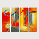 זול ציורים מופשטים-ציור שמן צבוע-Hang מצויר ביד - מופשט מודרני כלול מסגרת פנימית / ארבעה פנלים
