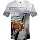 abordables Talkie-walkie-Tee-shirt Grandes Tailles Homme, 3D Imprimé Col Arrondi Arc-en-ciel XL