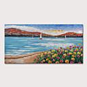 levne Abstraktní malby-Hang-malované olejomalba Ručně malované - Krajina Abstraktní krajinka Moderní Obsahovat vnitřní rám