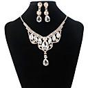 hesapli Takı Setleri-Kadın's Mavi Beyaz minik elmas Gelin Takı Setleri Klasik Aşk sevimli Stil Renkli Küpeler Mücevher Beyaz / Mavi Uyumluluk Parti Günlük 1set