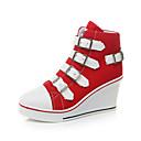 hesapli Kadın Sneakerları-Kadın's Spor Ayakkabısı Seksi Ayakkabı Dolgu Topuk Yuvarlak Uçlu Toka Kanvas Günlük / Minimalizm İlkbahar yaz Siyah / Kırmzı / Pembe