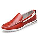זול נעלי בד ומוקסינים לגברים-בגדי ריקוד גברים נעלי עור עור אביב קיץ יום יומי נעליים ללא שרוכים נושם צהוב / אדום / כחול