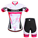 cheap Cycling Jerseys-WOSAWE Women's Short Sleeve Cycling Jersey with Shorts Peach Floral Botanical Bike Shorts Jersey Clothing Suit Breathable 3D Pad Quick Dry Anatomic Design Reflective Strips Sports Elastane Floral