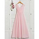 זול שמלות שושבינה-גזרת A צווארון V עד הריצפה שיפון שמלה לשושבינות הצעירות  עם סלסולים / קפלים על ידי LAN TING BRIDE® / מסיבת החתונה
