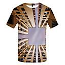 billige Herrekjeder-Rund hals Store størrelser T-skjorte Herre - 3D, Trykt mønster Grunnleggende Lysebrun / Kortermet