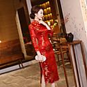זול מלאכה ותפירה-מבוגרים בגדי ריקוד נשים סגנון סיני Cheongsam עבור מסיבה וערב מדים מועדון שילוב כותנה / פשתן Midi Cheongsam