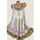 cheap LED String Lights-Women's Basic T Shirt Dress - Tie Dye Patchwork Print Yellow Wine Khaki XXXL XXXXL XXXXXL