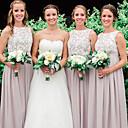 זול שמלות שושבינה-גזרת A עם תכשיטים עד הריצפה שיפון / תחרה שמלה לשושבינה  עם אפליקציות על ידי JUDY&JULIA