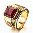 זול עגילי גברים-בגדי ריקוד גברים טבעת הטבעת שוהם 1pc שחור אדום נחושת ציפוי זהב זכוכית מרובע מסוגנן וינטאג' יומי עבודה תכשיטים סגנון וינטג' יָקָר מגניב