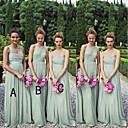 זול שמלות שושבינה-גזרת A כתפיה אחת / לב (סוויטהארט) עד הריצפה שיפון שמלה לשושבינה  עם סלסולים על ידי JUDY&JULIA