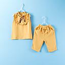 זול בגדי ריקוד לילדים-סט של בגדים כותנה ללא שרוולים טלאים אחיד פעיל / בסיסי בנות ילדים