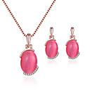 זול סטים של תכשיטים-בגדי ריקוד נשים פוקסיה טבעות חישוקים קסמים שרשרת קלאסי ארופאי עגילים תכשיטים אדום ורד עבור חתונה Party מתנה יומי פֶסטִיבָל 1set