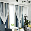 זול כיסויי שולחן-עכשווי Blackout שני פנאלים וילון & Sheer חדר שינה   Curtains