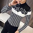 hesapli Erkek Gömlekleri-Erkek İnce - Gömlek Çizgili / Geometrik Temel AB / ABD Beden Siyah / Uzun Kollu