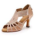 baratos Shall We® Sapatos de Dança-Mulheres Sapatos de Dança Cetim Sapatos de Dança Latina Gliter com Brilho / Detalhes em Cristal Salto Salto Carretel Personalizável Preto / Amêndoa / Espetáculo / Couro / Ensaio / Prática
