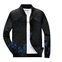 זול שורטים, מכנסיים, טייצים לרכיבת אופניים-בגדי ריקוד גברים יומי בסיסי מידות גדולות רגיל ג'קט, גיאומטרי עומד שרוול ארוך פוליאסטר אודם / אפור כהה / בז'