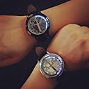 זול טבעת מפית-לזוג שעוני שמלה קווארץ עור שחור אור LED אנלוגי אופנתי - מוזהב כסף /  שחור שחור / כסוף שנה אחת חיי סוללה / מתכת אל חלד