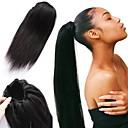 Недорогие Накладки из натуральных волос-плетение волос Конскиехвостики Женский Натуральные волосы Волосы Наращивание волос Прямой 14 дюймы На каждый день / Черный