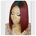 povoljno Postavljanje ekstenzija-Ljudska kosa Lace Front Perika Srednji dio stil Brazilska kosa Ravan kroj Višebojne Perika 130% 150% 180% Gustoća kose Žene Žene Kratko Perike s ljudskom kosom Clytie