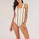 זול סט תכשיטים-לבן M L XL פסים, בגדי ים חלק אחד (שלם) לבן בגדי ריקוד נשים