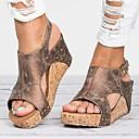 povoljno Ženske sandale-Žene Sandale Wedge Heel PU Ljeto Crn / Braon / Bež