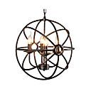 hesapli Asma Lambalar-Küresel kolye ışık antika dünya metal avize 4 işıklar yağ ovuşturdu bronz top kolye ışık tavan ışık fikstür yatak odası için koridor
