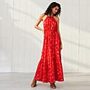 זול חליפות שני חלקים לנשים-מקסי קפלים Ruched דפוס, פרחוני - שמלה נדן סווינג בסיסי בוהו בגדי ריקוד נשים