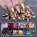 voordelige Nagelfoliepapier-12 grid nail pailletten paillette aluminium onregelmatige vlokken goud zilver pigment nail art decoratie spiegel glitter folie papier
