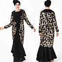 זול לבוש מסורתי ותרבותי-לבוש מסורתי ותרבותי Abaya בגדי ריקוד נשים לבוש יומיומי סאטן Paillette שרוול ארוך עבאיה