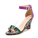 hesapli Kadın Topukluları-Kadın's Sandaletler Dolgu Topuk PU Bahar / İlkbahar yaz Siyah / Mor / Sarı