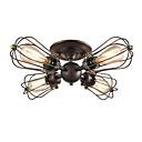Недорогие Люстры-потолочные светильники круглые винтажные промышленные 4-проводные потолочные светильники с проволочной сеткой Люстры полу-скрытого типа прихожая темно-коричневая проволочная клетка потолочные
