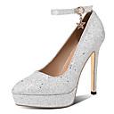 billige Højhælede sko til damer-Dame Hæle Stiletto Heels Stilethæle Spidstå PU Klassisk Efterår Sort / Sølv / Lys pink / Bryllup / Fest / aften