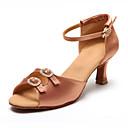 זול נעליים לטיניות-בגדי ריקוד נשים נעלי ריקוד עור נעליים לטיניות עקבים עקב קובני מותאם אישית שחור / עירום / הצגה / אימון