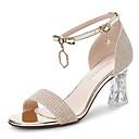 hesapli Kadın Sandaletleri-Kadın's Sandaletler Seksi Ayakkabı Sentetikler Tatlı / Minimalizm / Lucite Topuk İlkbahar & Kış / Yaz Siyah / Altın