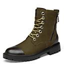 זול סניקרס לגברים-בגדי ריקוד גברים נעלי עור עור נאפה Leather חורף ספורטיבי / יום יומי מגפיים הליכה שמור על חום הגוף מגפיים באורך אמצע - חצי שוק שחור / חאקי