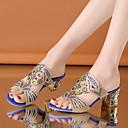 hesapli Kadın Sandaletleri-Kadın's Sandaletler Kalın Topuk PU Klasik Yaz Siyah / Yeşil / Navy Mavi