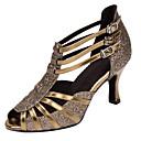 hesapli Latin Dans Ayakkabıları-Kadın's Sentetikler Latin Dans Ayakkabıları Ayrık Renkler Topuklular Kıvrımlı Topuk Kişiselleştirilmiş Kahverengi