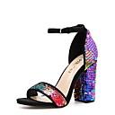hesapli Kadın Sandaletleri-Kadın's Sandaletler Kalın Topuk Yuvarlak Uçlu Payet PU Yaz Gökküşağı