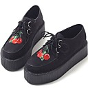 abordables Baskets Femme-Femme Oxfords Creepers Bout rond Cuir Printemps Noir