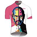 hesapli Bisiklet Formaları-21Grams Steve Jobs Erkek Kısa Kollu Bisiklet Forması - Pembe+Yeşil Bisiklet Forma Üstler Nefes Alabilir Hızlı Kuruma Yansıtıcı çizgili Spor Dalları %100 Polyester Dağ Bisikletçiliği Yol Bisikletçiliği