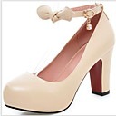 billige Højhælede sko til damer-Dame Hæle Kraftige Hæle Rund Tå Rosette PU Sommer Sort / Mandel / Hvid