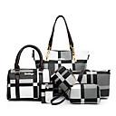 povoljno Komplet torbi-Žene Patent-zatvarač / S resicama PU Bag Setovi Color block 6 kom Crn / Braon / Plava