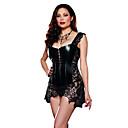 povoljno Stare svjetske nošnje-Žene Vintage / Haljina s korzetom - Jednobojni, Čipka PU Crn Fuksija S M L / Sexy