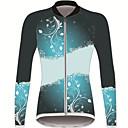 povoljno Biciklističke majice-21Grams Cvjetni / Botanički Žene Dugih rukava Biciklistička majica - Crna / plava Bicikl Biciklistička majica Majice UV otporan Prozračnost Ovlaživanje Sportski Zima 100% poliester Brdski biciklizam